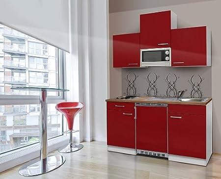 respekta KB150WRMI Single Mini Kitchen Unit Kitchen Island Red / White 150 CM with Mikrowelle