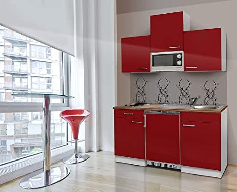 respekta KB150WRMI bloque de cocina Single Mini cocina blanco rojo 150 cm con microondas