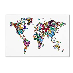 Trademark Fine Art Butterflies Map of The World Artwork by Michael Tompsett, 30 by 47-Inch