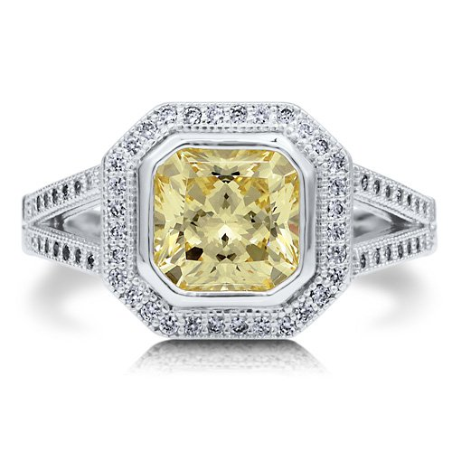 Sterling Silver 925 Princess Cut Canary Cubic Zirconia Twin Shank Ring - Nickel Free Engagement Wedding Ring Size 5