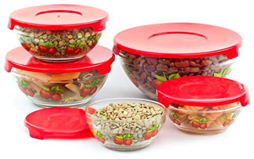 5 Pcs Nested Glass Mixing Bowls Set With Apple Design and Red Lids - Set of 5 Glass Food Storage Containers (5 Piece Glass Bowl Set compare prices)