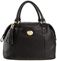 Hot Sale Tommy Hilfiger Turnlock Tassel Pebble Bowler Satchel,Black,One Size