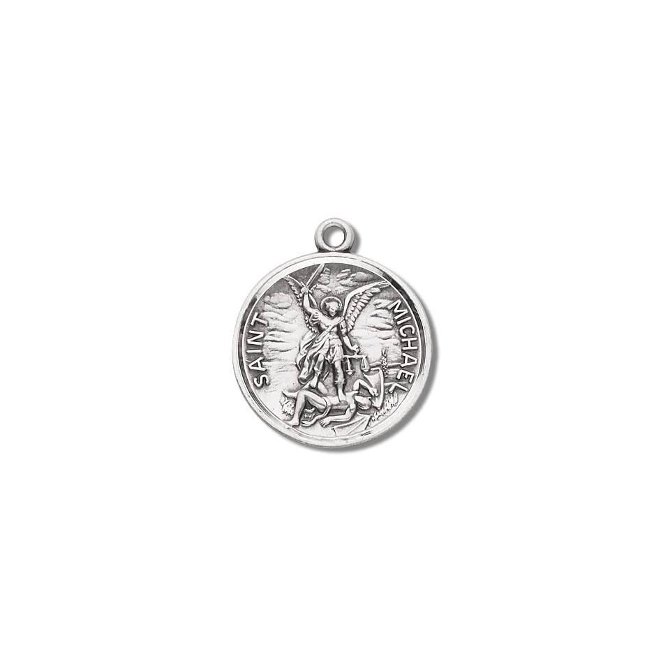 Sterling Silver St. Michael with Prayer Back with 24 Stainless Steel Chain in Gift Box. Patron Saint of Police Officers & EMTs & Protection. St. Michael the Archangel Is Known for Protection As Well As the Patron of Against Danger At Sea, Against Temptat