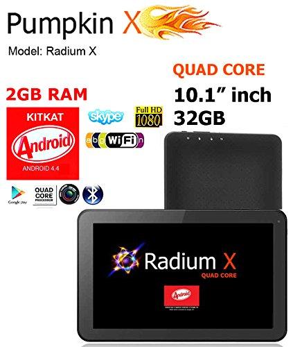 "10.1"" 32Gb Android 4.4 Kitkat [Quad Core] Tablet W/ 2Gb Ram, Dual Cameras, Hdmi, Wifi Google Play Store, Bluetooth - Radium X / Pumpkin X"