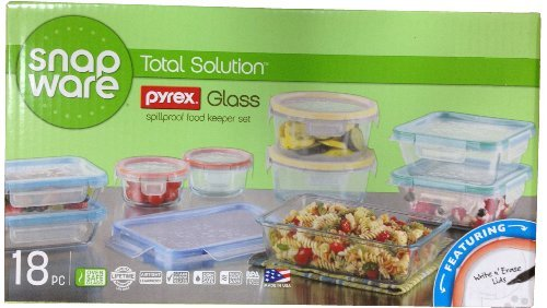 Snapware: 18Pc Total Solution Pyrex Glass Food Keeper Set - Featuring Write N' Erase Lids, Garden, Lawn, Maintenance