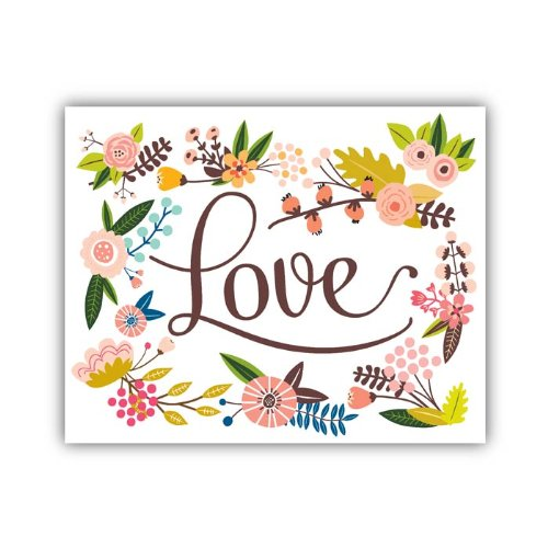 "Lucy Darling Floral Love Print Wall Decor, 8"" x 10"""
