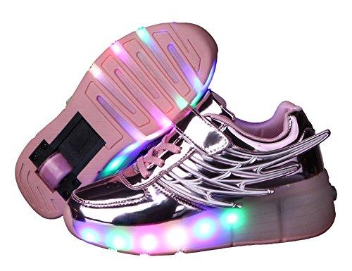 Mr.Ang Unisex adulti luce Heelys Scarpe unisex LED Ala Stile Rolls regolabile pattini rollerblade pattini in linea singola ruota Ragazzi Ragazze Bambini