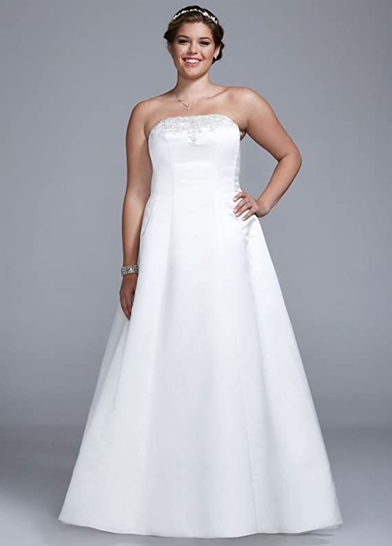 SAMPLE Wedding Dress Strapless Satin A-line with Beaded Lace Detail Style..