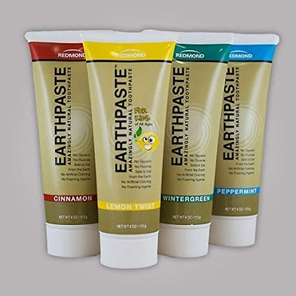 Redmon Earthpaste Natural Toothpastec 4 PACK!! (Lemon, Wintergreen, Cinnamon, Peppermint)
