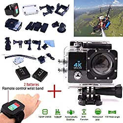 "Yeholding Fotocamera 4K sport con WiFi impermeabile Funzioni del telecomando, 16MP 2.0 ""HD Display LCD 30M impermeabile HD pieno 1080P H.264 170 ° grandangolare, mini DV Video WiFi Action Sports Camera (nero)"