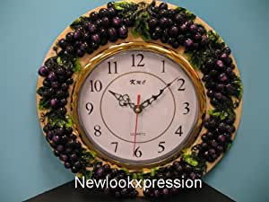Amazon Com 3d Grape Wall Clock Home Kitchen