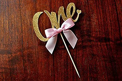 One Cake Topper. 1st Birthday Cake Topper. Pink and Gold Party Decorations.