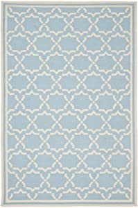 Safavieh Dhurrie Collection DHU545B-5 Handmade Wool Area Rug, 5 by 8-Feet, Light Blue/Ivory