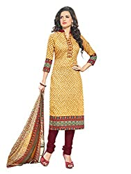 Inddus Women Yellow & Maroon Printed Handloom Cotton Dress Material