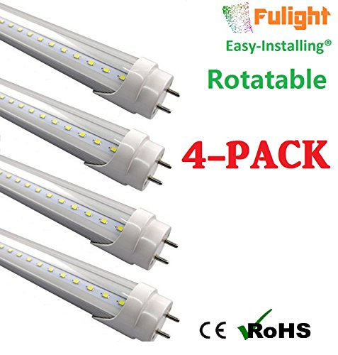 (4 PACK) Fulight Easy-Installing & Rotatable¤ T8 LED Tube Light - 4FT 18W (34W Equivalent), Cool White 4100K, F32T8, F34T12/CW, Double-End Powered, Clear Cover, Works from 85-265VAC - Fluorescent Replacement Bulb