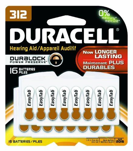 Duracell Da312B16Zm09 Easy Tab Hearing Aid Zinc Air Battery, 312 Size, 1.4V, 175 Mah Capacity (Pack Of 16)
