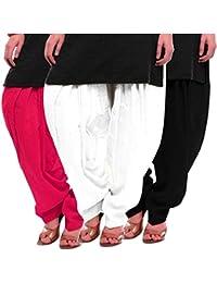 Women's Rani White-Black Cotton Patiala Salwar