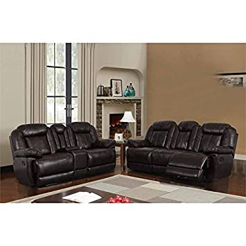 Global Furniture USA 2 Piece Reclining Sofa Set in Brown