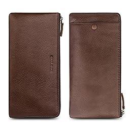 QIALINO Women\'s Long Zipper Genuine Leather Wallet Case /Card Case /Phone holder Snap Clutch Purse