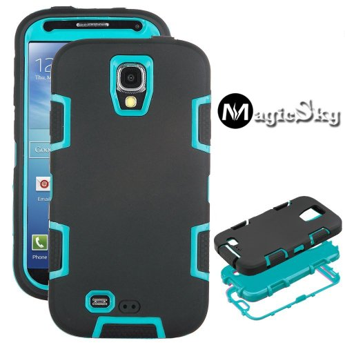 Magicsky Robot Series Hybrid Armored Case For Samsung Galaxy Iiii S4 I9500 - 1 Pack - Retail Packaging - Blue/Black