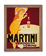 Martini Liquor Vintage Poster Ad Home Decor Wall Picture Oak Framed Art Print