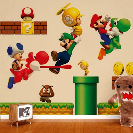 Domire (Super Mario) Wall Decal Decor Sticker Removable Wall Decal For Baby Boys And Girls Nursery Children'S Bedroom Kids Room Stickers Home Decor