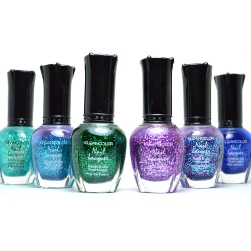 6-KLEANCOLOR-BEAUTIFUL-GLITTER-SET-NAIL-POLISH-COLORFUL-LACQUER-MANICURE-FREE-EARRING