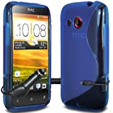 ONX3 - TRIPLE PACK - HTC Desire C Blue Wave Gel Skin Case Cover + Micro USB In Car Charger + LCD Screen Protector Guard