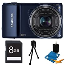 """Samsung WB250F Smart Digital Camera, 14.2 Megapixel, 18x Optical Zoom, 3.0"""" LCD Display, Wi-Fi, Cobalt Black Bundle Includes 8 GB Memory Card, Card Reader, Deluxe Carrying Case, Mini Tripod, and 3Pcs. Lens Cleaning Kit."""
