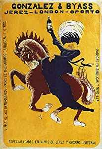 GIRL HORSE BACK GONZALEZ & BYASS JEREZ LONDON OPORTO DRINK SPAIN VINTAGE POSTER REPRO
