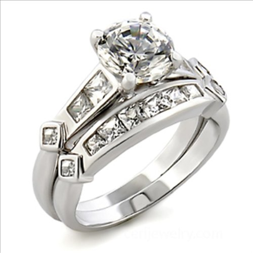 2.5 ct Round Cubic Zirconia cz Bridal Wedding Ring Set Platinum plated