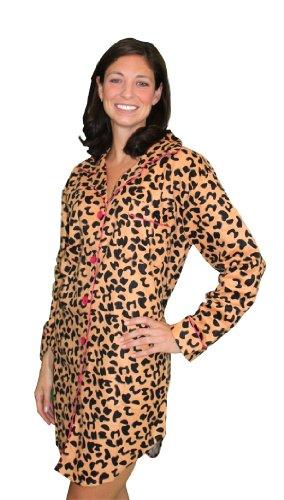 Frankie & Johnny - Cheetah bSoft Nightwear - Cotton Flannel Womens Night Shirt - Pink Trim