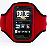 Vangoddy Red Neoprene Workout Exercise Armband fits Smartphone Mobile Phones Samsung Blackberry HTC LG Nokia (12.4 x 7 x 0.6 cm, ArmLength 29.8 cm)