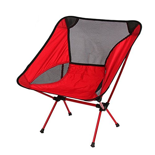 Ezyoutdoor Walkstool Compact Stool Portable Folding Chair with Case for Bivouac Travel Camping Fishing Hiking Sports Travel Photography Backpacking with Very (red)