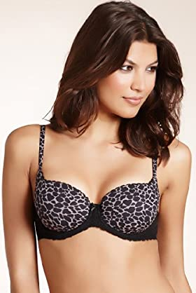 Perfect Fit Animal Print Lace Padded Balcony Bra