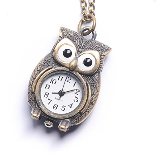 81stgeneration-Womens-Brass-Vintage-Style-Owl-Pocket-Watch-Chain-Pendant-Necklace-78-cm