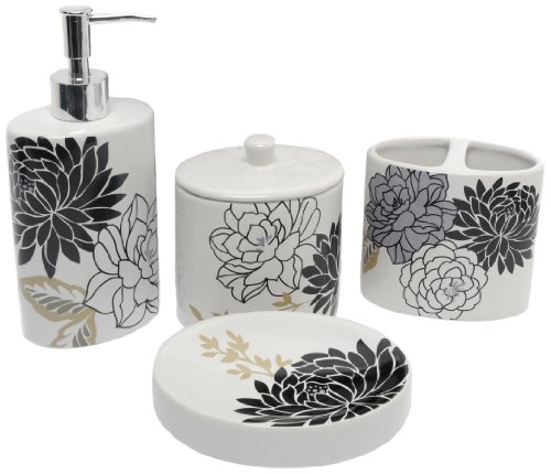 Waverly by Famous Home Fashions Cheri Grey Bath Accessory Set, 4-Piece