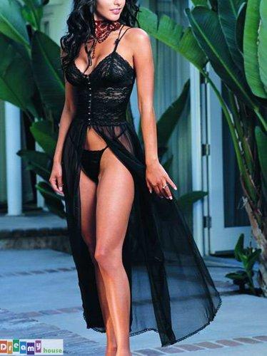New Arrival Elegant Sexy Women Lingerie Retro Lace Black Long Slit Dress 5022
