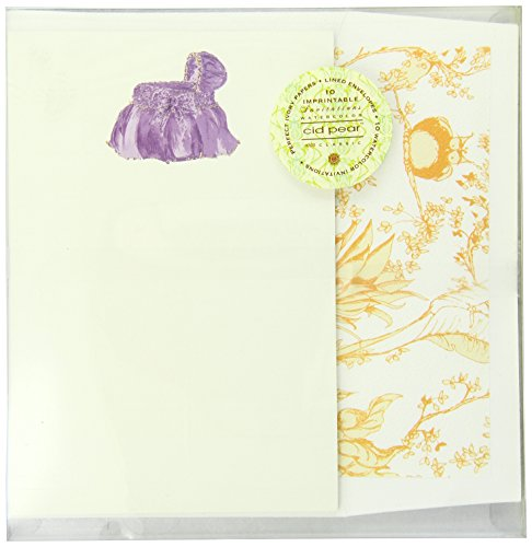 C.R. Gibson Cid Pear Imprintable Invitations and Lined Envelopes, Lilac Bassinet, 10 Count - 1