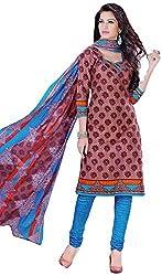 Shivani Women's Cotton Dress Material (Brown)