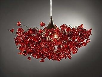 Abat jour rouge d co fleurs romantiques lustre - Abat jour chambre adulte ...
