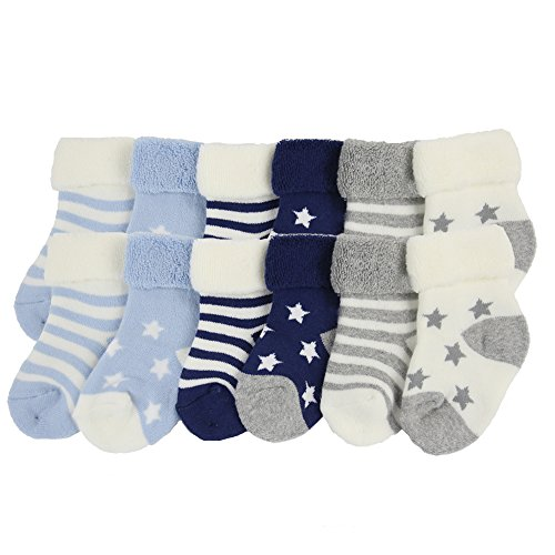 YULI-Unisex-Kids-Newborn-Baby-Boy-Girl-Heavy-Duty-Comfort-Navy-Striped-Rib-Stars-Crew-Gift-Socks12-Pack-3-12-Months