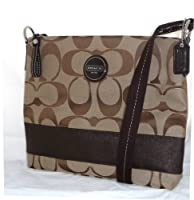 Coach 17435 Signature Mahogany Stripe Crossbody