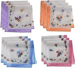 Jai Guruji Enterprises Women's Handkerchief (JG_0101, 12 Pieces)