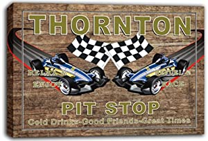 scpu1-2263 THORNTON Pit Stop Car Racing Game Room Stretched Canvas Print Sign