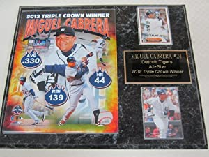 Miguel Cabrera Detroit Tigers TRIPLE CROWN 2 Card Collector Plaque w 8x10 Photo -... by J & C Baseball Clubhouse