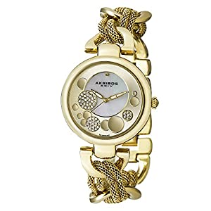 Akribos XXIV Women's AK643YG Lady Diamond Gold-Tone Dial Mesh and Chain Link Bracelet Watch
