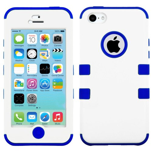 Mylife (Tm) Royal Blue And White - Flat Color Series (Neo Hypergrip Flex Gel) 3 Piece Case For Iphone 5/5S (5G) 5Th Generation Itouch Smartphone By Apple (External 2 Piece Fitted On Hard Rubberized Plates + Internal Soft Silicone Easy Grip Bumper Gel + Li