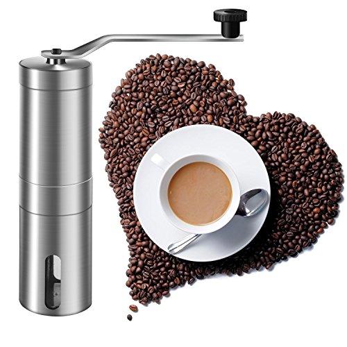 Manual Coffee Grinder, Amado Coarse Coffee Grinder Brushed Stainless Steel Manual Coffee Grinder