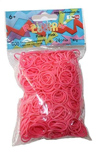 Official Rainbow Loom 600 Ct. Rubber Band Refill Pack[Includes 24 C-Clips!] Pink